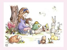 Little Girls Together. PRINT 5X7. Nursery Art Wall by LoxlyHollow