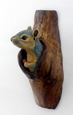 Wall Sculpture Squirrel Wood Carving Hand Carved by by Mike Berlin