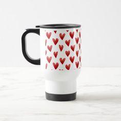 cute hearts pattern Valentine's Day love Travel Mug - Saint Valentine's Day gift idea couple love girlfriend boyfriend design