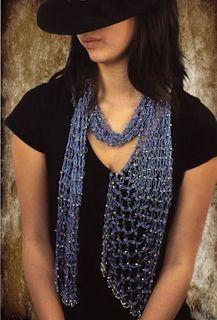 lacy beaded crochet scarf
