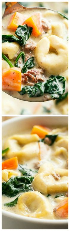 Slow Cooker Creamy Tortellini Soup ~ Pure comfort food, loaded with vegetables, Italian sausage and cheese tortellini... NO flour and NO heavy cream!