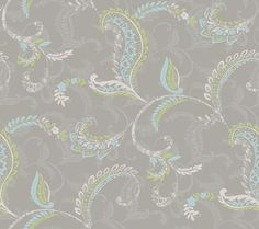 Contemporary Christel Riley Paisley Scroll Wallpaper in Sapphire and Green CHR11692