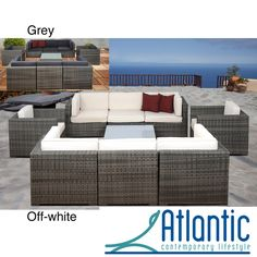 Messina Grey/Off-White 9-piece Wicker Set | Overstock™ Shopping - Big Discounts on Atlantic Sofas, Chairs & Sectionals