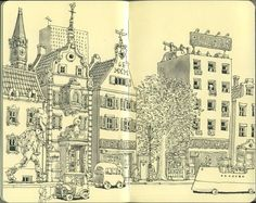 When it comes to Moleskine sketches, no one does it quite like Swedish artist Mattias Adolfsson. His Moleskine sketchbooks are filled with hyper-detailed s