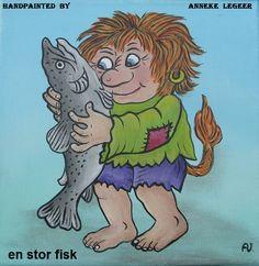""""""" En stor fisk """" , handpainted by Anneke Legeer , the Netherlands, inspired by Rolf Lidberg. Weert , 18 januari 2018."""