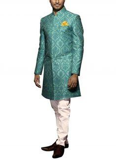 Blue Sherwani Jacket with White Pants by SVA | Indian Designers