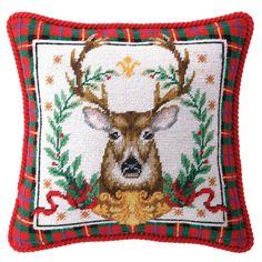 Holiday Stag Needlepoint Pillow - Furbish Studio
