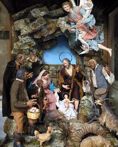 A typical Naples Presepe. Christmas In Italy, Antique Christmas, Christmas Tea, Xmas, Bethlehem, Naples, Christmas Nativity Scene, Nativity Scenes, Fontanini Nativity