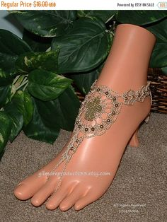Fancy cross barefoot sandals for Christian beach wedding.  These anklet toe sandals are the perfect foot jewelry that symbolizes unity.  The body ankle bracelet for your ba... #handmade