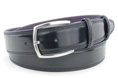 Navy blue cordovan welt edge belt, £115.00