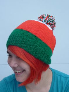 Rugby Bobble Hat, Welsh Rugby Bobble Hat, Knitted Welsh Bobble Hat - pinned by pin4etsy.com