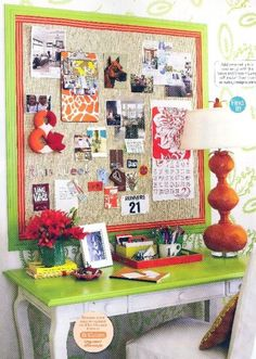 hang burlap on the wall...frame it out with colorful ribbon or fabric strips...