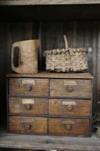 Small old wood file cabinet