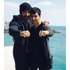 Varun Dhawan and John Abraham on the sets of their upcoming movie 'Dishoom' in Abu Dhabi.