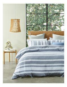 Striped Quilt, Mood Indigo, Australian Homes, Quilt Cover Sets, Stripe Print, Duvet, Bedding, Comforters, Home And Garden