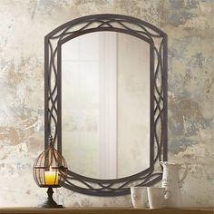 "Woven Bronze Metal 35 1/2"" High Wall Mirror - #P0174 | Lamps Plus"