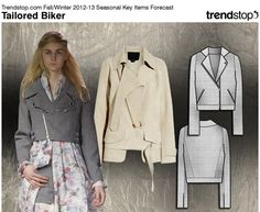 Most of these trends were evident on the catwalks, especially the blouse sweatshirt - really any knit/woven combination and the graphic design textile combination as well