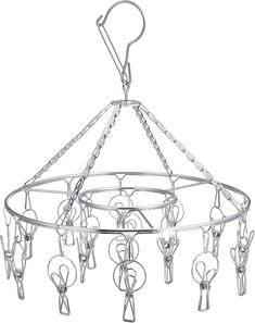 Amazon.com: Laundry Clothesline Hanging Rack for Drying Clothing Set of 18 Stainless Steel Clothespins Round: Home & Kitchen