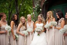 Romantic DIY Fairytale Wedding: Blush Pink, Ruffles & Lace | Bridal Musings | A Chic and Unique Wedding Blog  Her dress is gawjuss. The colors are beautiful. Such easy and pretty bridesmaid bouquets. The theme is exactly what I want.