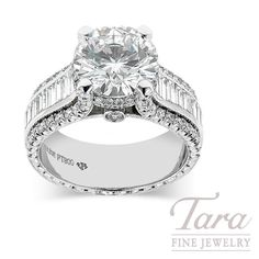 Jack Kelege Diamond Engagement Ring With 3.02 CT Round Center, Platinum, 2.09TDW