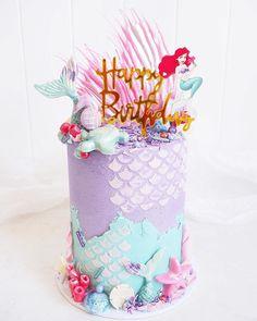 Little Mermaid Cakes, Mermaid Birthday Cakes, Cute Birthday Cakes, Sirenita Cake, Ariel Cake, Cake Designs Images, Drip Cakes, Cute Cakes, Cake Art