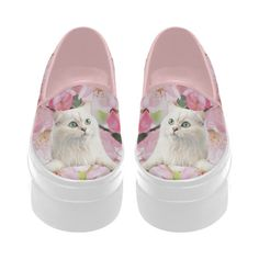 Cat and Flowers Selene Deep Mouth Women Shoes (Model 311)