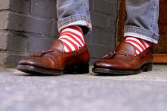 Someday I would have you - tasselled loafers and I would wear you with striped socks too.