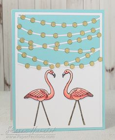From Sharon Harnist via www.PaperFections.com  Bistro Lights die cutting plate from @tayloredexpress with Yard Flamingo from @PinkInkStamps, mirror stamped. Instructions on blog post.