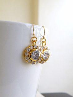 Wedding Jewelry Bridal Earrings Round Teardrop Cubic by SomsStudio, $33.00