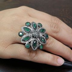 Emerald Gemstone 925 Sterling Silver Cocktail Ring Diamond Pave Handmade Jewelry #Handmade #Cocktail #Christmas