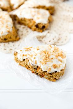 Carrot Cake Scones with Coconut Cream Cheese Frosting