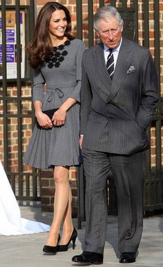 Kate was joined by Prince Charles, who wore a matching grey pinstripe suit for the visit to Dulwich Picture Gallery