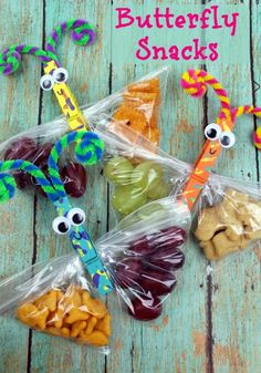 Butterfly snacks - perfect for back to school lunchbox ideas!