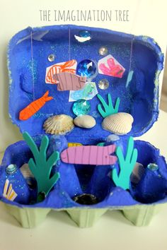Egg Carton Ocean Craft - The Imagination Tree Craft Activities, Preschool Crafts, Ocean Activities, Spanish Activities, Summer Activities, Family Activities, Egg Box Craft, Junk Modelling, Under The Sea Crafts