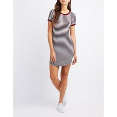 Charlotte Russe Striped Ringer Bodycon Dress ($23) ❤ liked on Polyvore featuring dresses, multi, stripe dresses, charlotte russe, striped mini dress, striped dress and knit dress