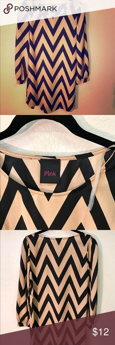 NEW♥️LISTING Nude & Black chevron mini dress Flirty & Sassy nude & black long-sleeve chevron dress! Purchased at a boutique in San Diego. Worn only a couple times & always hand washed with hang dry! 💯 % polyester & soft. Pair with Tory Burch flats or Wedges. Wear on its own or over tights/leggings! Pink Dresses Mini