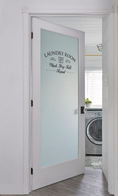 Laundry room door. Laundry room door ideas. Glass and stencil Laundry room door #Laundryroomdoor #Laundryroom Soda Pop Design Inc.