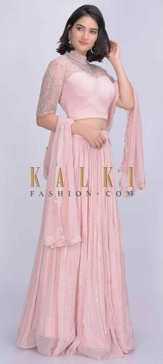 Powder pink lehenga set in chiffon fabric. Lehenga crafted with gathered waist. Beautified with gotta lace in stripe pattern. Embroidery Online, Lace Embroidery, Pink Lehenga, Bridal Lehenga, Georgette Fabric, Chiffon Fabric, Powder Pink, Designer Wear, Designer Collection