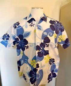 Men's Structure Camp Shirt Sz Medium Groovy Hawaiian Print Excellent | eBay $29.50