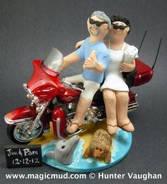 Personalized Harley Davidson Wedding Cake Toppers