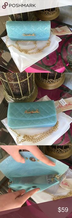 """HOST PICK☄️☄️☄️☄️☄️☄️ADORABLE QUILTED JELLY CLUTCH JELLY BAG (CLUTCH) COLOR IS BABY BLUE-APPROX. 7.5"""" HIGH-4"""" WIDE-1.7"""" DEEP-CHAIN DROP IS APPROX. 23""""-FUN BAG FOR SUMMER Boutique Bags Clutches & Wristlets"""