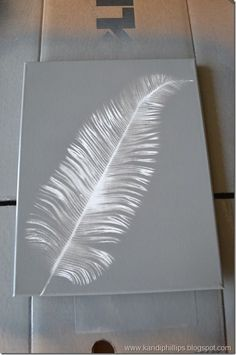 """Faux solar art using spray paint and floral """"picks."""" Try this in dark varied greens."""