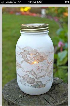 Lace mason jar painting