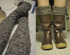 DIY boot liners from old sweater sleeves. Really great idea ! Old Sweater, Sweater Boots, Sock Shoes, Shoe Boots, Do It Yourself Decorating, Flattering Outfits, Crochet Projects, Sewing Projects, Diy Projects