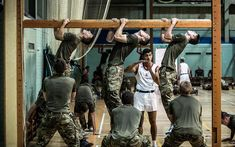 A behind the scenes look at gymnasium training at the Royal Marines Training   Camp in Lympstone, Devon.