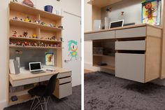 Owen's floating desk is the ideal workstation for an older child. It features 2 pencil drawers and a side cabinet for school books and papers while open shelves above display his growing toy collection. His desk is long, which can hold a computer and books at the same time.