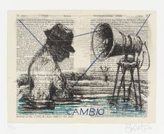 William Kentridge 'Cambio' 1999 I chose this image because I like the way Kentridge records his travels directly onto the pages of a guide book South African Artists, Art Portfolio, Animation Film, Stop Motion, New Artists, Contemporary Artists, Mixed Media Art, Art Inspo, Printmaking