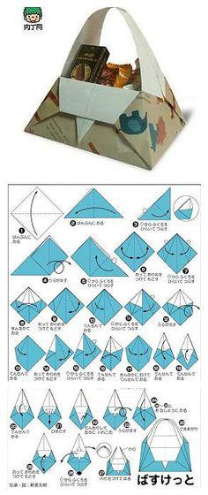 Origami Basket - diagrams (in Chinese) (DIY Basket ) Diy Origami, Cute Origami, Origami Bag, Origami And Kirigami, Origami Paper Art, Origami Tutorial, Diy Paper, Paper Crafts, Oragami