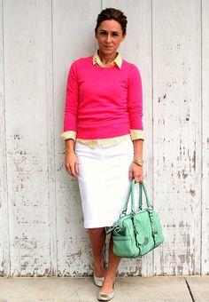Hot pink sweater; Yellow button up shirt; White skirt; Seafoam bag and flats