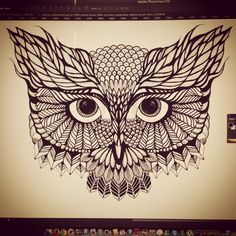 Owl Tattoo, but the eyes are wrong for me. I think the entire eye should be black completely with no whites in the eye. I would probably do this in watercolor or grayscale